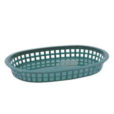 Tablecraft 1076FG Forest Green Oval Chicago Platter Basket - Dozen