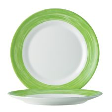 "Cardinal Arcoroc Brush Opal® 7-1/2"" Side Plate w/ Green Rim"