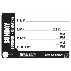 "DayDots 10260-07-31 2"" x 3"" Trilingual Sunday Prep Label - 500 / RL"
