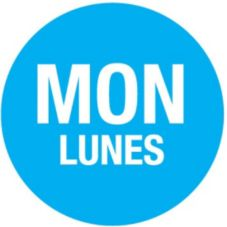 "SupeRemovable Bilingual 3/4"" Label, ""Monday"", Roll/2000"