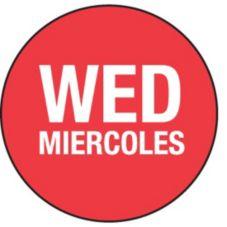 "DayDots 10103-03-21 Red 3/4"" Wednesday Bilingual Label - 2000 / RL"