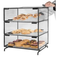 "Gourmet Display PC300-B Black 20"" x 16"" 3 Level Pastry Case"