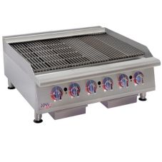 APW Wyott HCRB-2436 Cookline Gas Lava Rock 6-Burner Charbroiler