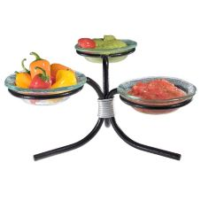 Gourmet Display® Metal Stand With 3 Glass Bowl Display