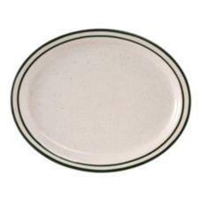 """Tuxton TES-014 Emerald 13.25"""" x 10.5"""" Eggshell Oval Platter - 12 / CS"""