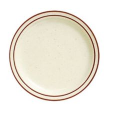 "Tuxton TBS-022 8-1/8"" Eggshell Plate with Brown Bands - 36 / CS"