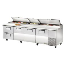 True® 3-Door 2-Drawer S/S Pizza Prep Table w/ White Alum. Interior