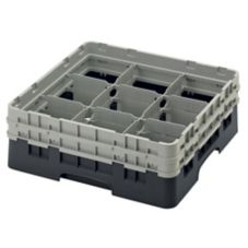 Cambro Camrack 9 Comp Full Size Glass Rack w/ 2 Extenders, Black