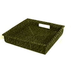 "Front Of The House BPT021GRK22 12"" Green Tea Rattan Tray - 6 / CS"
