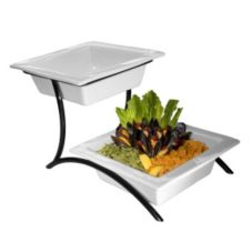 Gourmet Display® PP302-13 Black 2-Tier BLOC Porcelain Bowl Stand
