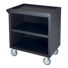 Cambro BC3304S110 Black 3 Shelf Service Cart with 1 Enclosed Side
