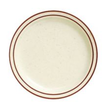 "Tuxton TBS-016 10-1/2"" Eggshell Plate with Brown Bands - 12 / CS"