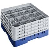 "Cambro 16S900186 Navy Blue 16 Comp 9-3/8"" Full Glass Rack - 2 / CS"