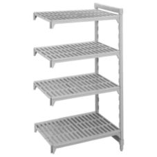 "Cambro CSA48367480 Camshelving Gray 18"" x 36"" Four Shelf Add-On Unit"