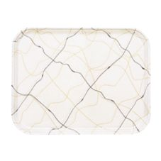 "Camtray 1216270 Swirl Black and Gold 12"" x 16-5/16"" Tray - 12 / CS"