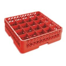 Traex® TR6B-02 Red 25 Compartment Glass Rack with 1 Extender