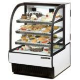 True® White Curved Glass Refrigerated Bakery Case, 16.5 Cubic Ft