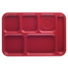 Cambro Red Budget 6-Compartment School Tray