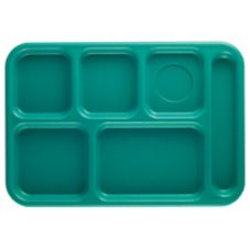 Cambro BCT1014414 Teal Budget 6-Compartment School Tray - Dozen