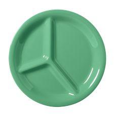 G.E.T. CP-10-FG Diamond Mardi Gras Green 3-Compartment Plate - 12 / CS