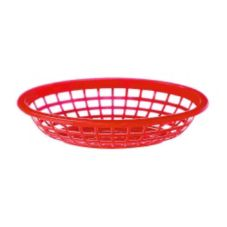 "G.E.T. OB-734-R Red Plastic 7"" Oval Traditional Basket - Dozen"
