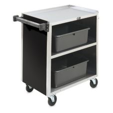 Vollrath® 97181 S/S Enclosed 3-Shelf Vinyl Finish Bussing Cart