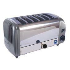 Cadco CTW-6M Commercial 6-Slice Dualit 208 Volt Metallic Grey Toaster