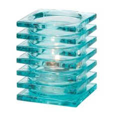 Hollowick® 1501AQ Aqua Stacked Square Glass Block Lamp