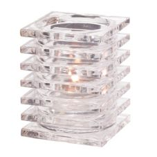 Hollowick® 1501C Clear Stacked Square Glass Block Lamp