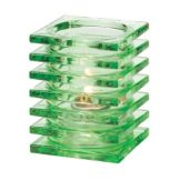Hollowick® 1501LGR Lime Green Stacked Square Glass Block Lamp