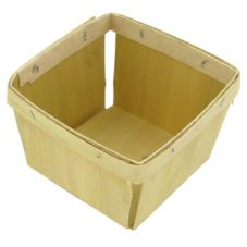 Texas Basket Co. 830 Natural Wood Square 1 pt Berry Basket