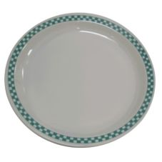 "Homer Laughlin  0217-1789 Checkers Turquoise 10.5"" Plate - 12 / CS"