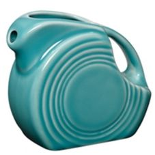 Homer Laughlin 475107 Turquoise 4-3/4 oz Small Disk Pitcher - 4 / CS