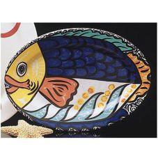 """Homer Laughlin China 0158-1919 Big Fish Oval 15-5/8"""" Platter - 6 / CS"""