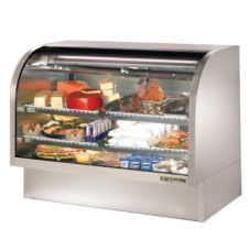 True® S/S 2-Shelf Curved Glass Refrigerated Deli Case, 30 Cubic Ft