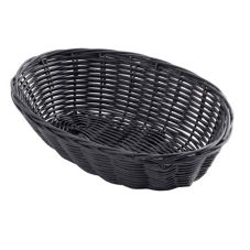 "TableCraft 2474 9"" x 6"" Black Woven Plastic Basket - Dozen"