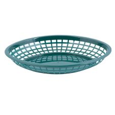 "Tablecraft 1084FG 11-3/4"" Forest Green Jumbo Oval Basket - Dozen"