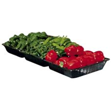 Wicker Produce Basket, Black Molded Plastic, 12 x 12 x 2-1/2