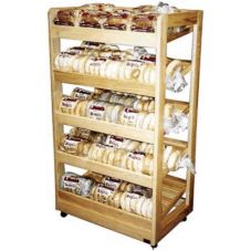 Portable Bakery Display Rack, Clear Finish, 31 x 20 x 55-1/2