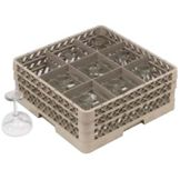 Vollrath TR10FF Traex Beige 9 Compartment Glass Rack with 2 Extenders
