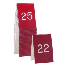 "Cal-Mil® 3.5"" x 5"" Red and White Number Tents (No. 1-25)"