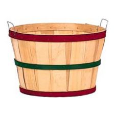 "Texas Basket Co. 122 Natural Wood / Red 18"" x 12"" Bushel Basket"