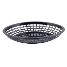 "Tablecraft Black Polyethylene 11-3/4"" Jumbo Oval Basket"