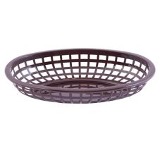 "TableCraft 1074BR 9-3/8"" x 6"" Brown Oval Basket - Dozen"