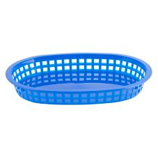 "Tablecraft 10-1/2"" Royal Blue Oval Chicago Platter Basket"