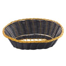 "Tablecraft Black 9"" Oblong Hand-Woven Basket w/ Gold Metal Trim"