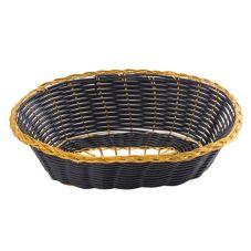 "Tablecraft 975B 9"" Black Hand-Woven Basket with Gold Trim"
