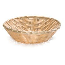 TableCraft® 1175W Hand-Woven Round Plastic Basket - Dozen