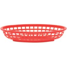 "Tablecraft Red Polyethylene 9-3/8"" x 6"" Oval Basket"