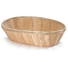"Tablecraft 9"" x 6"" Natural Oval Hand-Woven Plastic Basket"